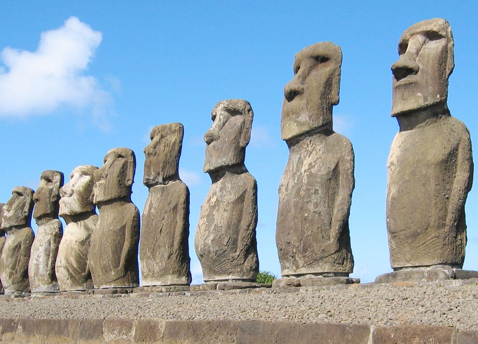 Nature medicine with Moai statue hologram